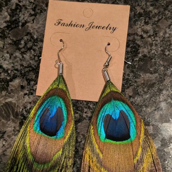 fashion boho Jewelry - Peacock feather earrings